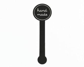 HAND MADE STICKERS (Set of 49) - Black Hand Made Sticker Set (3cm x 7cm)