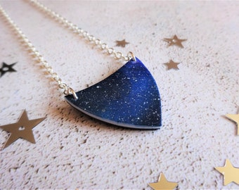 Space necklace, space jewellery, Galaxy necklace, Galaxy jewellery, Blue necklace, Night sky necklace, Solar system, The Galaxy Collection