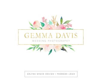 Premade Logo - Logo Design - Photography Logo - Watercolor Logo - Floral Logo - Flower Logo - Gold Logo - Business Logo - Branding Kit
