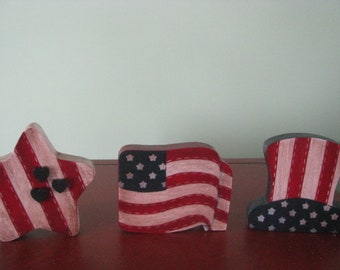 Patriotic, Americana, 4th of July,  shelf sitter,  stained, flag, hat, star, hanpainted, wood,  red, white and blue, gift for her, July 4th