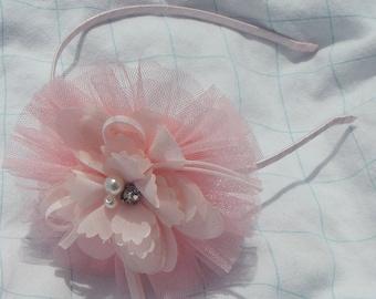 Blush Pink Headband, Pink Tulle Headband, blush pink headband,Flower Tulle Headband, Rhinestone Headband, Girl Headband, Hair Accessories