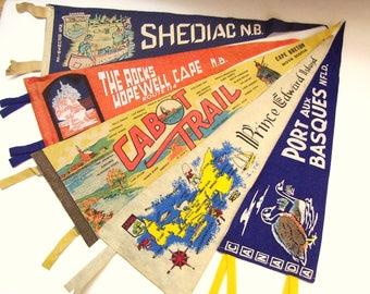 5 Vintage Felt Pennants Eastern Canada Travel Souvenir Cabot Trail, Hopewell Rock, Port Aux Basques - 1950s