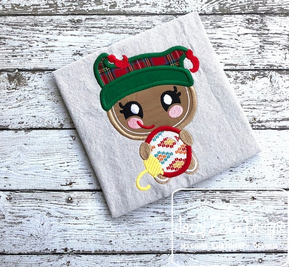 Ginger bread girl with ornament appliqué embroidery design - Christmas appliqué design - ginger bread appliqué design - girl appliqué design