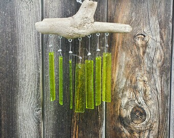 Vivid Verdi Too - Driftwood & Glass Wind Chime