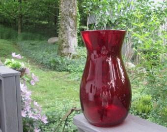 """Vintage Ruby/ Burgundy Glass Vase - Large 9"""" Vase - Wedding Decor - Christmas/ Holidays"""