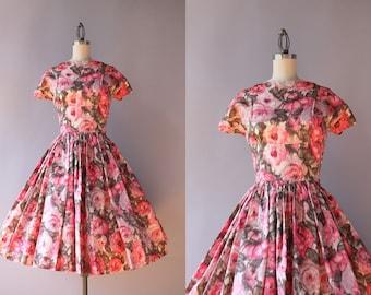 1950s Dress / Vintage 50s Dress / 1950s Pink Floral Party Dress XS