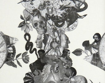 """Black and White Collage Print """"Illusion of Reality"""""""