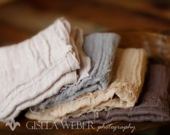 Brown Baby Wrap Set - Newborn Photo Prop - Boy Photo Prop - Neutral Baby Wraps - Beige Gray Tan Wrap - Cheesecloth Wrap - Neutral Layers