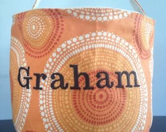 Orange Sun Burst Spring Easter Basket including embroidery
