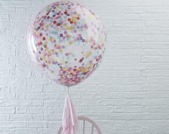3 Pack, Jumbo Confetti Filled Balloons, Huge Confetti Balloons, Multicoloured Confetti Balloons, Party Balloons, Wedding Balloons