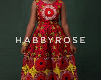Nkem African midi dress, African wrap dress, African convertible dress,  African dress, Ankara dress, African wax fabric, Skater dress