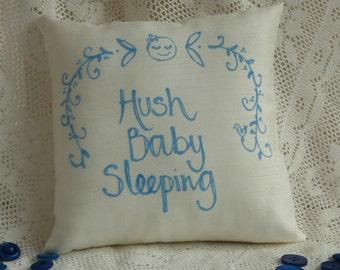 Hand painted baby pillow - Hush baby sleeping (boy)
