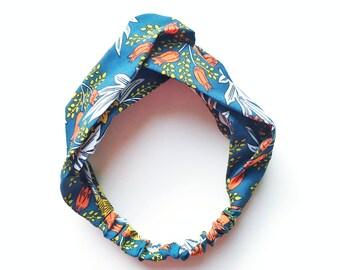 Phyllis Fabric Headband - Turban headband - Garden Print - Boho headband - Womans headband - Adult headband - Green fabric headband