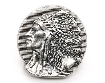 """Left Facing Indian Chief Head Concho Antique Nickel 1-1/4"""" 3665-21 by Stecksstore"""