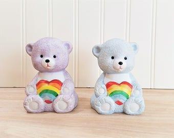 Vintage Rainbow Bear Bells Rainbow Bear Figurines Care Bear Like Care Bear Figurines Rainbow Decor Nursery Decor Bear Decor Bear Nursery