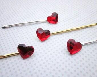Heart Hair Pin, Red Crystal Hair Pin, Swarovski Hair Pins, Red Bobby Pin, Red Hair Pin, Heart Hair Accessory, Red Heart Hair Pin, Heart Pin