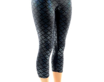 Black Mermaid Scale Dragon Holographic Shiny Shimmery Capri Leggings  -E7971