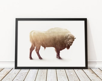 "Printable Buffalo/Bison Wilderness Double Exposure Art Print -Digital Download - Art Print - 8""x8"" 12""x12"" 12""x18"" 20""x30"" 30""x30"""