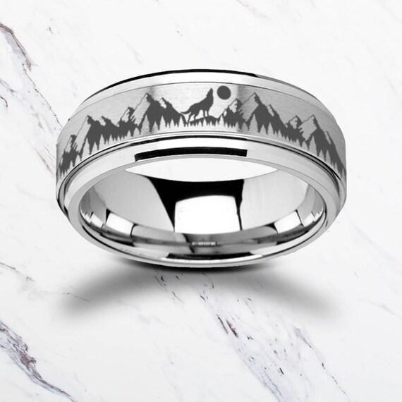 Laser Engraved Fidget Spinner Ring howling Wolf Moon Forest Scene Landscape Satin & Polished Edges - 8mm Available - Lifetime Size Exchanges