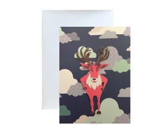 Moose In the Clouds Blank Greeting Card, designed to be framed too.