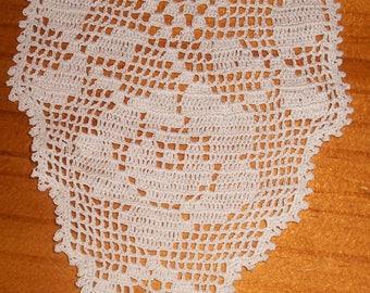 Vintage White Hand Crochet Filet Lace Roses Sandwich Doily