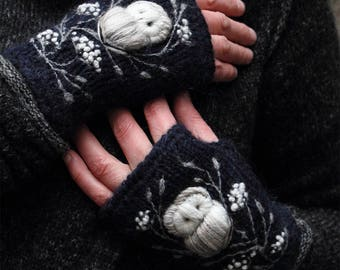 Hand knitted fingerless mittens with embroidery owl,midnight blue,winter accessories,gloves and mittens,gift for her,comfort life.