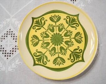 Vintage Royal China Round Chop Plate Platter Yellow Green Tulip Mandala Bohemian Retro Ironstone USA PanchosPorch
