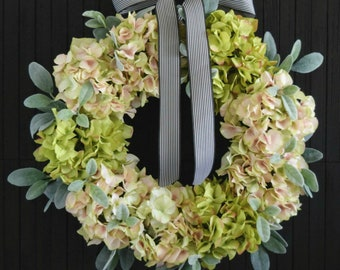 Pink and Green Hydrangea Front Door Wreath with Lambs Ear Greenery for Spring and Summer Decor