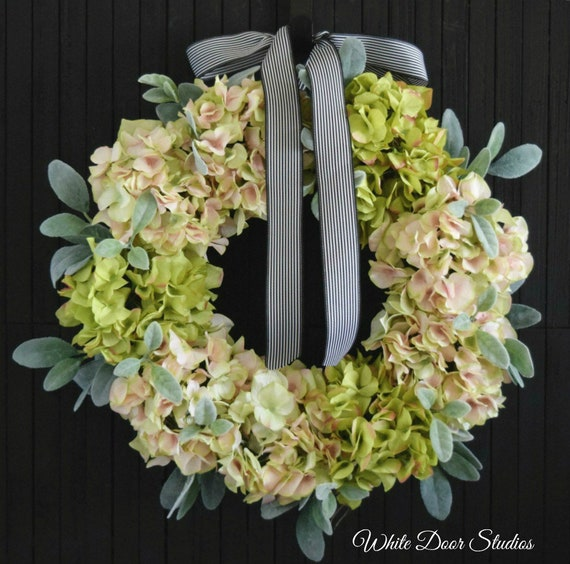 Hydrangea and Lambs Ear Front Door Wreath