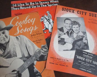 lot of 3 Vintage Sioux City Sue Cowboy Songs and Texas in the Spring sheet music Death Valley Days Gene Autry