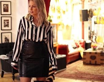 Vintage High Waisted Genuine Black Leather Pencil Skirt Womens Retro Fenn Wright & Manson Womens XS/S