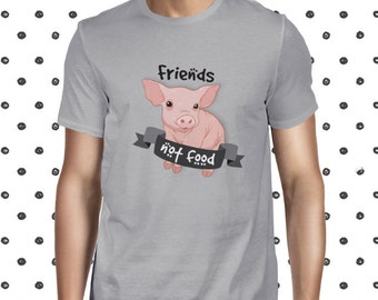 Animals Are Friends Vegetarian Tee Vegan Men's T-shirt Friends Not Food Veganism Shirt Plant Based Tee Animal Rights Tee Planteeful