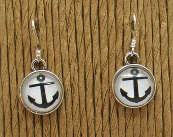 Nautical Anchor Earrings - Summer, Beach, Anchor, Sailor, Nautical, Blue and White, Anchor Earrings