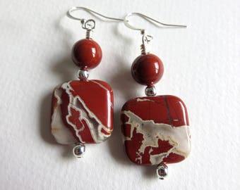 Gemstone Earrings, Jasper Earrings, Rustic Earrings, Boho Earrings, Earthy Earrings, Southwest Earrings, Dangle Earrings