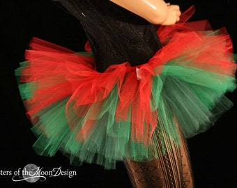 Adult elf tutu skirt Peek a boo mini red and green costume christmas holiday dance bridal --You Choose size -- Sisters of the Moon