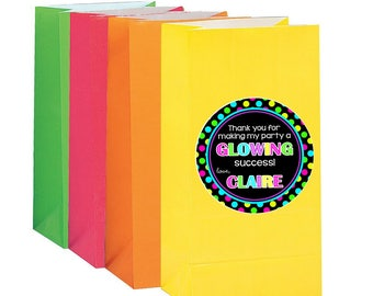 PRINTABLE GLOW Party Favor Tags / Print Your Own Personalized Neon Birthday Party Favor Tags or Stickers / 80's Party / You Print
