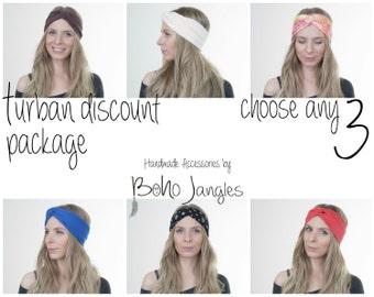 Turban Discount Package You Choose any 3, Yoga Headband, Workout Hairband, Boho Turban, Twisted Headband, Stretchy Headband, Boho Fashion