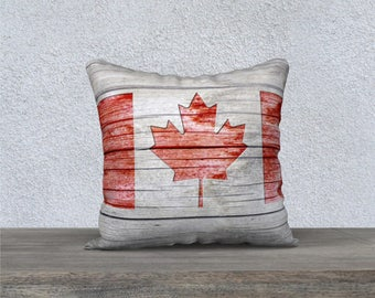 Rustic Canada Flag Indoor Pillow, Red Maple Leaf Graphic Weathered Grey Wood Barn Board Throw Cushion Cover, Canadian Patriotic Home Decor