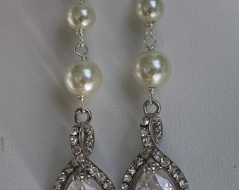 Dina Swarovskicrystal and double pearl  dangle clip-on or posts  bridal earrings