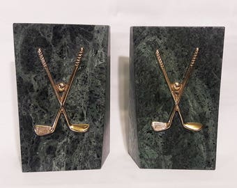 Pair of Vintage Solid Dark Green Marble and Brass Bookends With a Golf Design