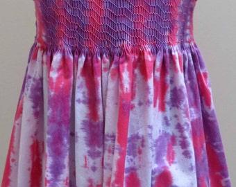 Girls Dress, OOAK Summer Dress, Hand Dyed Fabric, Hand Smocked Dress, Sleeveless Dress