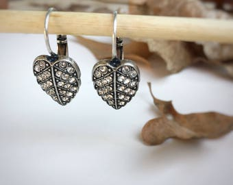 Leaf Earrings, Leaverback Earrings, Silver Leaf Earrings