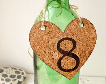 Wedding table numbers, cork table numbers, heart numbers, rustic table numbers, hanging hearts with numbers