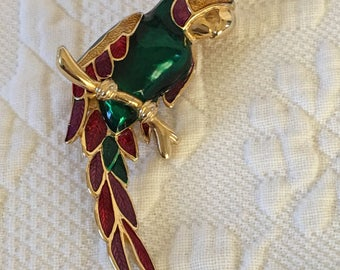 Vintage Gold Parrot Cloisonne Pin Brooch. Cloisonne Parrot Sitting on Branch Pin Brooch.  Lovely Bird Pin.