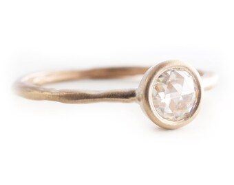 Rose Cut Moissanite Ring, Engagement Ring, Solitare Ring, 14K Solid Recycle Gold Ring, Yellow Gold, Tula Jewelry.