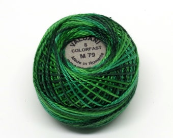 Valdani Pearl Cotton Thread Size 8 Variegated: #M79 Explosion in Greens