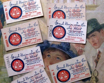 Vintage Tea Tickets (8), Red, White and Blue, Connecticut, Grand Union Tea Co. Tea Check,