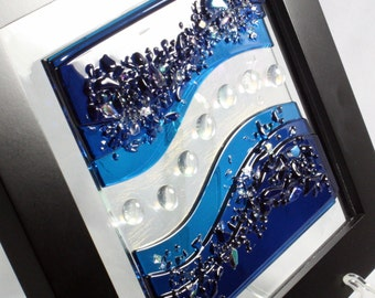 Fuse Glass Wall Art- Deep Aqua Waves