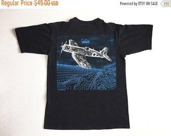 Vintage 80s Blackbird F4U Corsair Vaporwave Vector T Shirt [Large] Jet Plane Club Kid Raver Hipster Retro