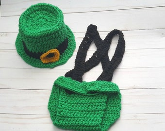 Baby Leprechaun Costume Top Hat, Irish Baby Outfit, Baby Newborn Boy Girl Photo Outfit, First St Patrick's Day, Baby Shower Gift, Halloween